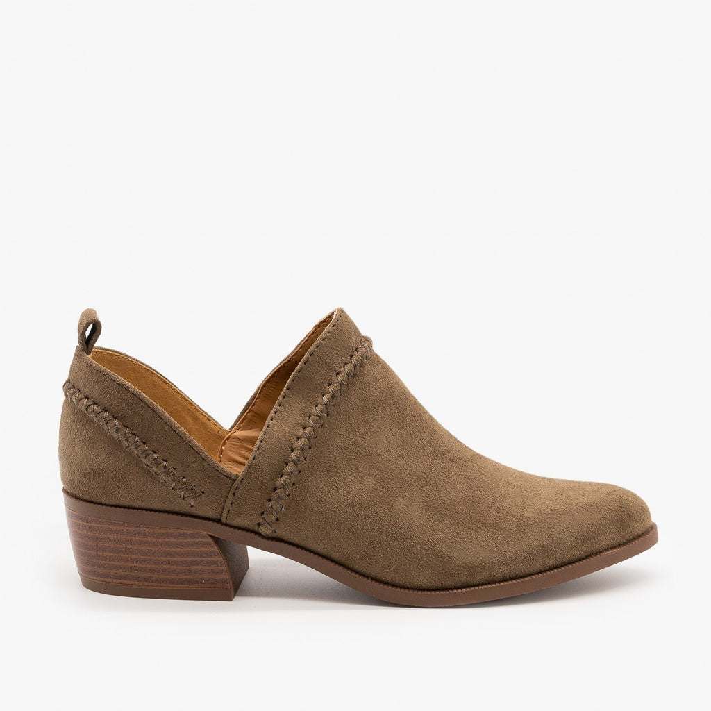 Womens Stitched Side Cut-Out Booties - Qupid Shoes - Khaki / 5
