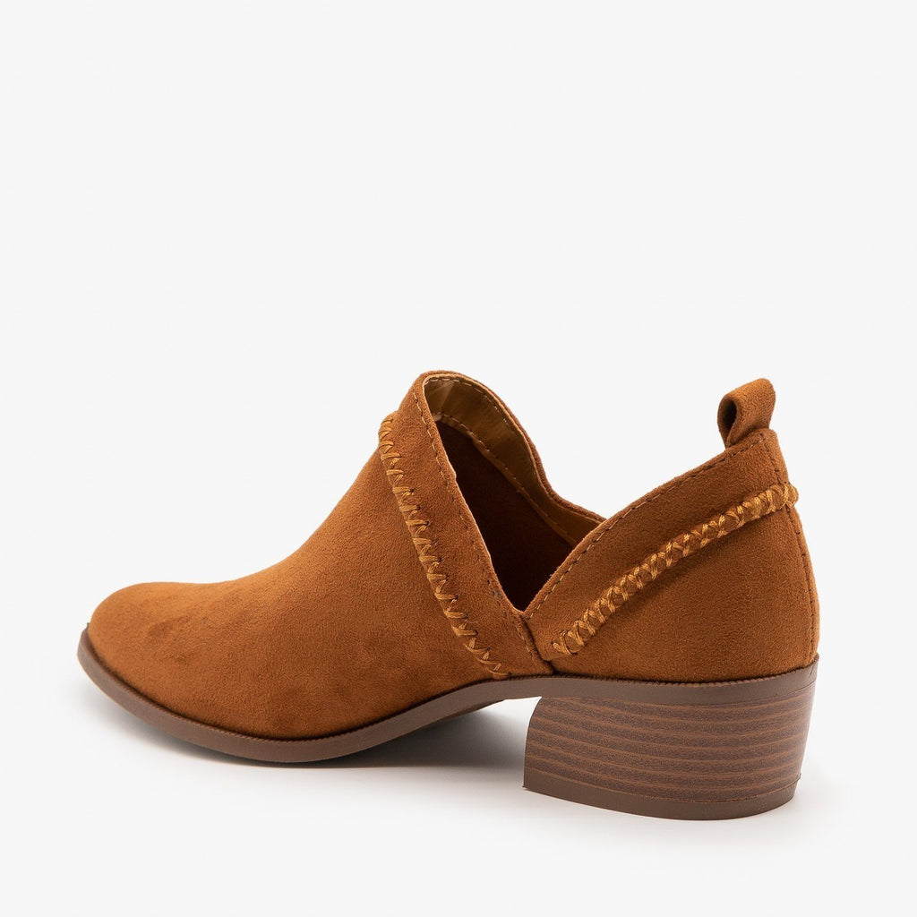 Womens Stitched Side Cut-Out Booties - Qupid Shoes