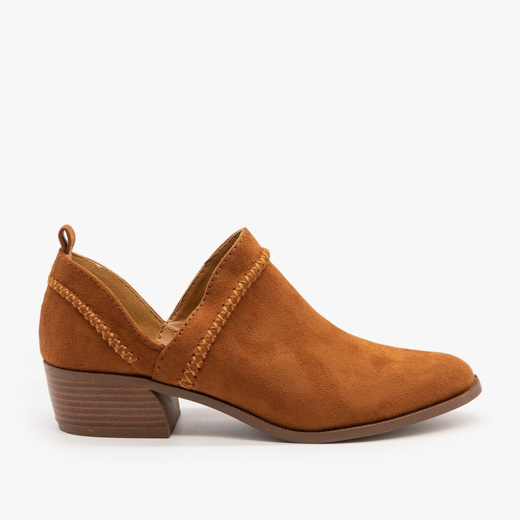 Womens Stitched Side Cut-Out Booties - Qupid Shoes - Chestnut / 5