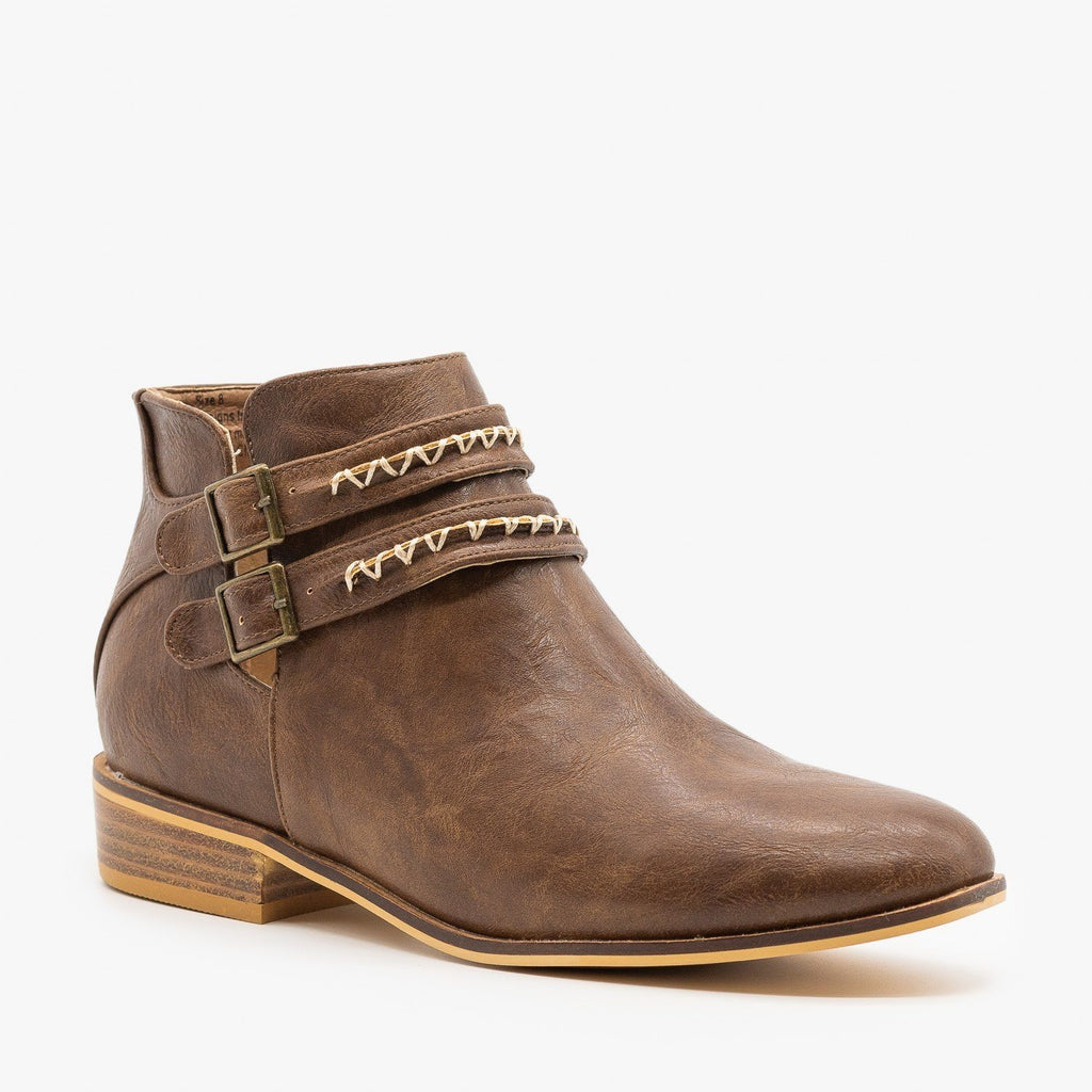 Womens Stitching Accented Ankle Booties - Beast Shoes