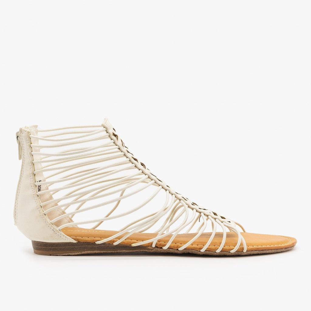 Womens Strappy Ankle Gladiator Sandals - Bamboo Shoes - White / 5