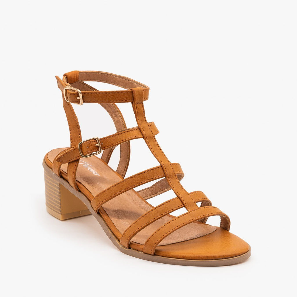 Womens Strappy Block Sandal Heels - Forever - Tan / 5
