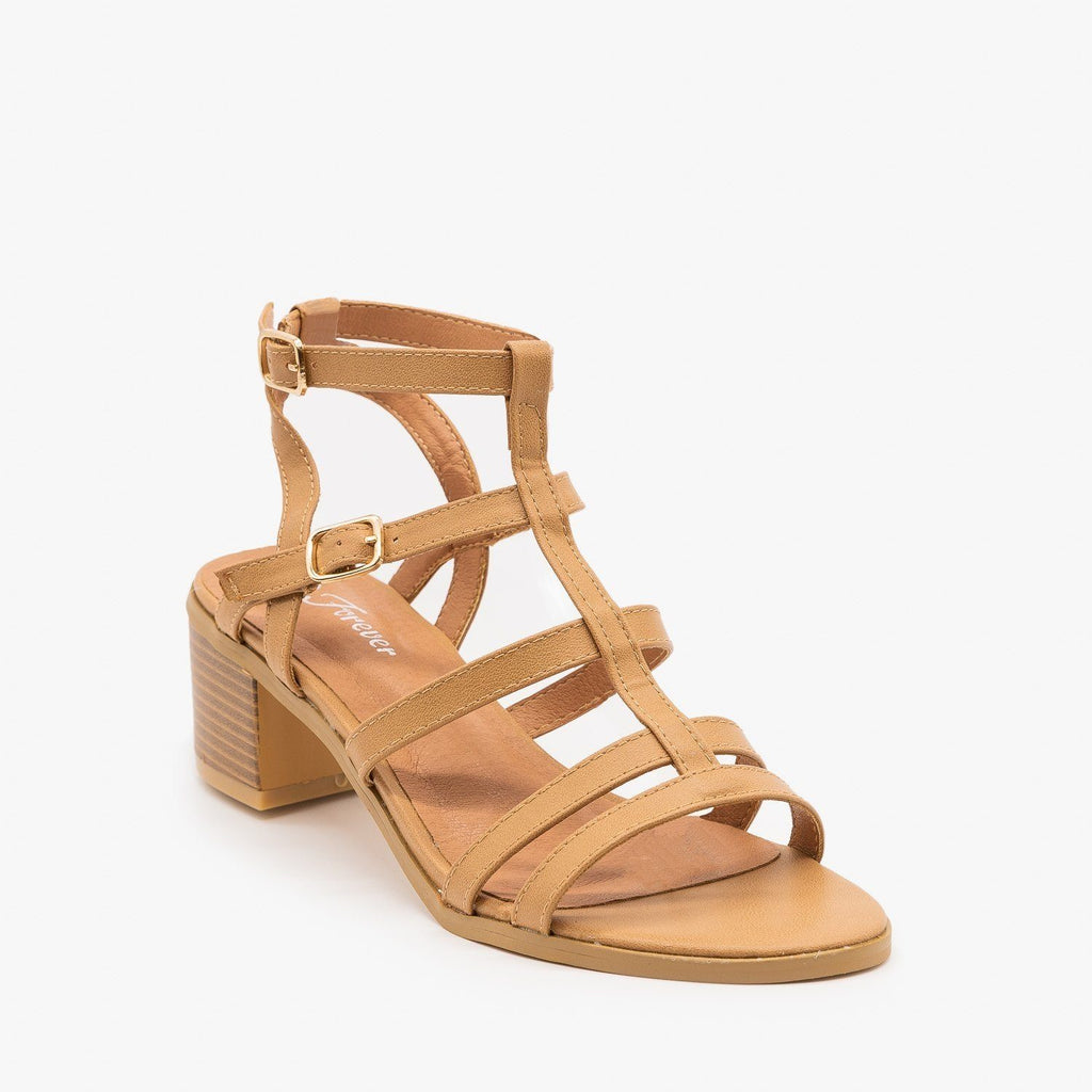 Womens Strappy Block Sandal Heels - Forever - Taupe / 5