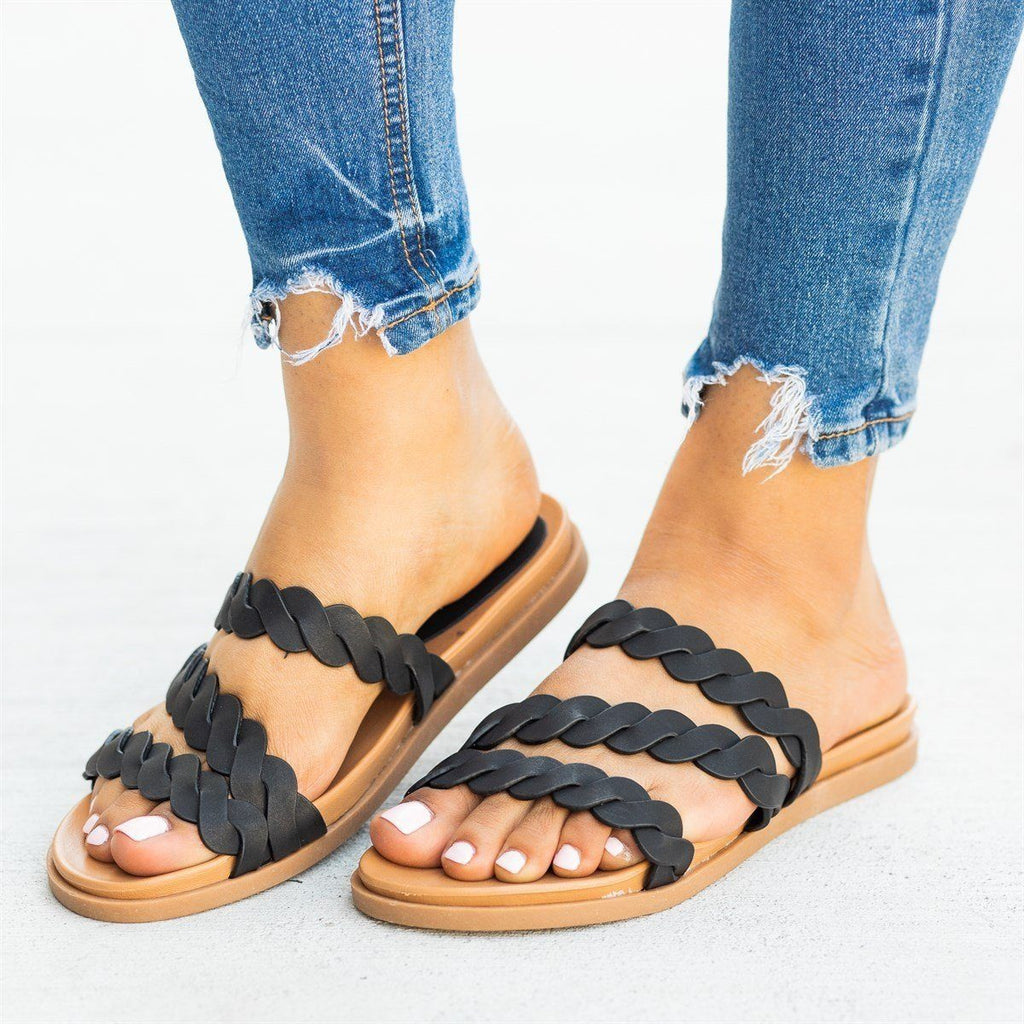 Womens Strappy Braided Slip-On Sandals - Bamboo Shoes - Black / 5