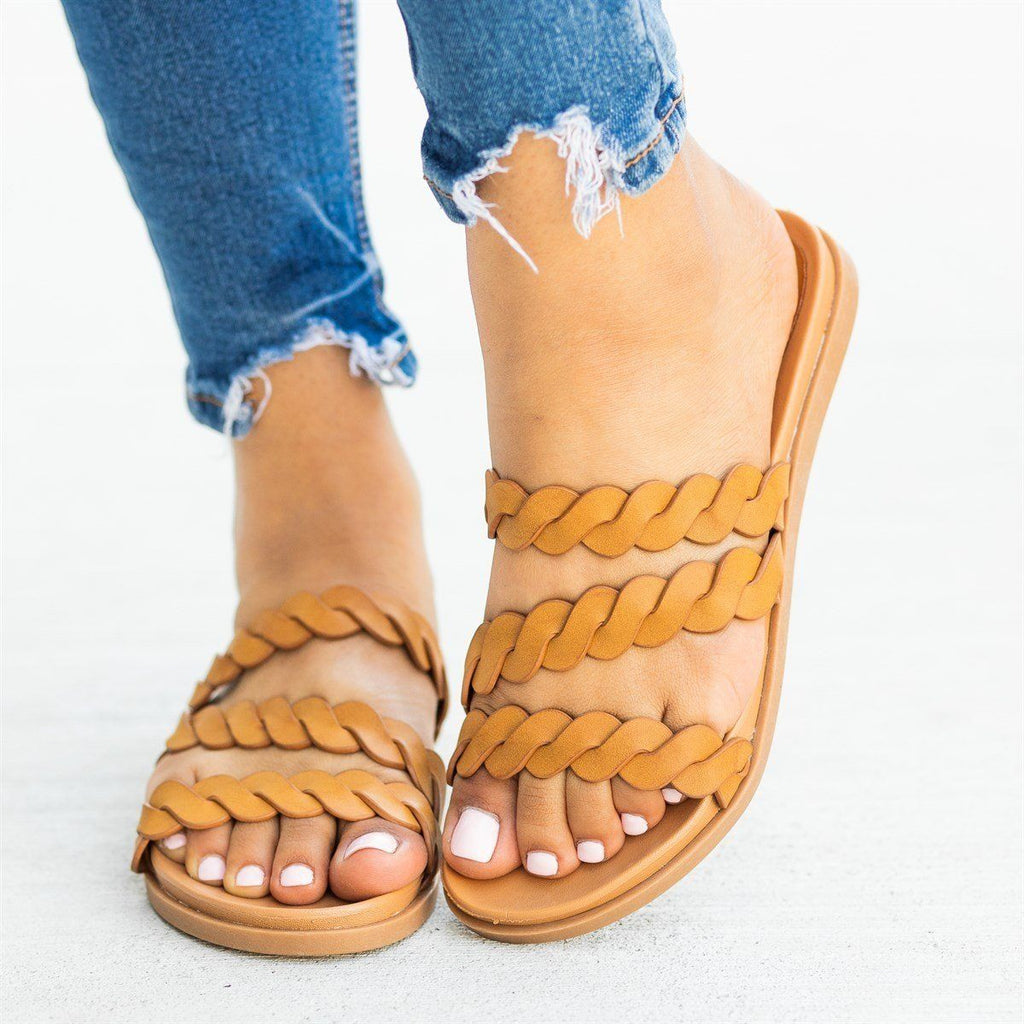 Womens Strappy Braided Slip-On Sandals - Bamboo Shoes - Tan / 5