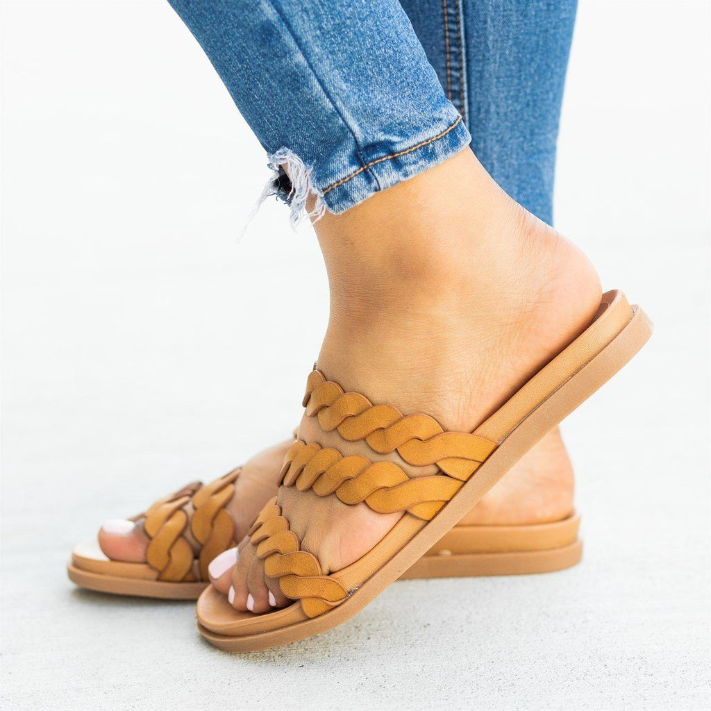 Womens Strappy Braided Slip-On Sandals - Bamboo Shoes