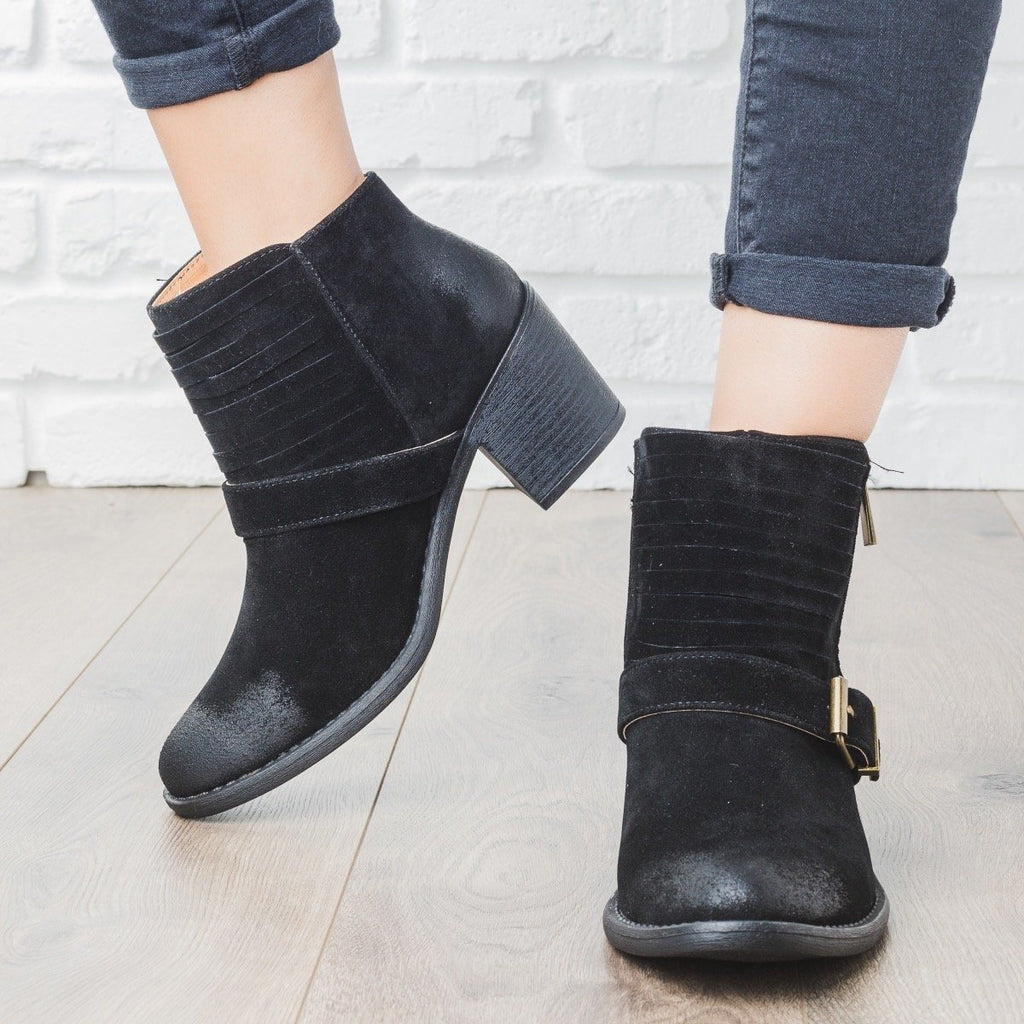 Womens Strappy Buckle Booties - Qupid Shoes
