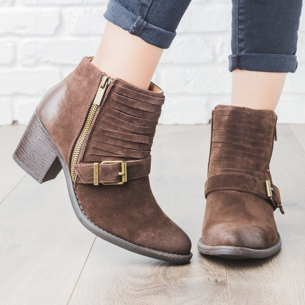 Womens Strappy Buckle Booties - Qupid Shoes - Brown / 5