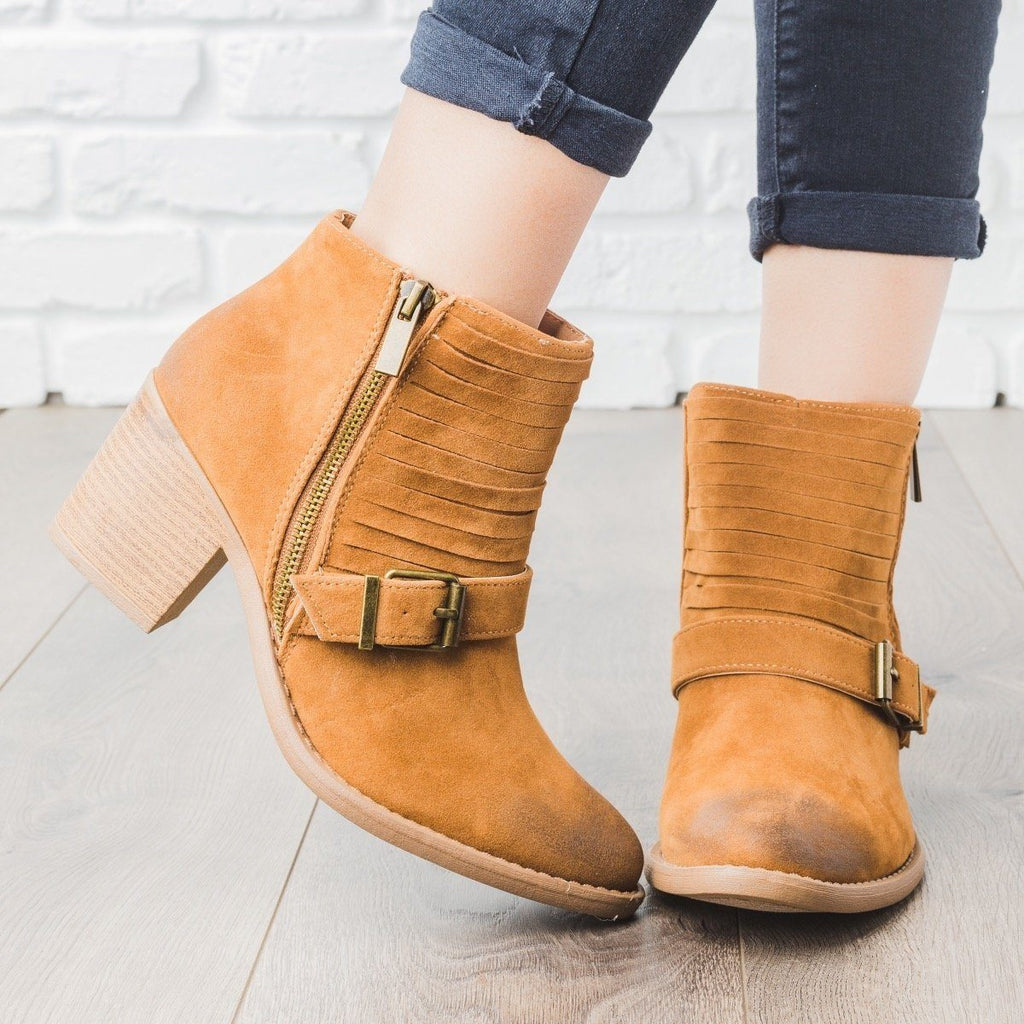 Womens Strappy Buckle Booties - Qupid Shoes - Camel / 5