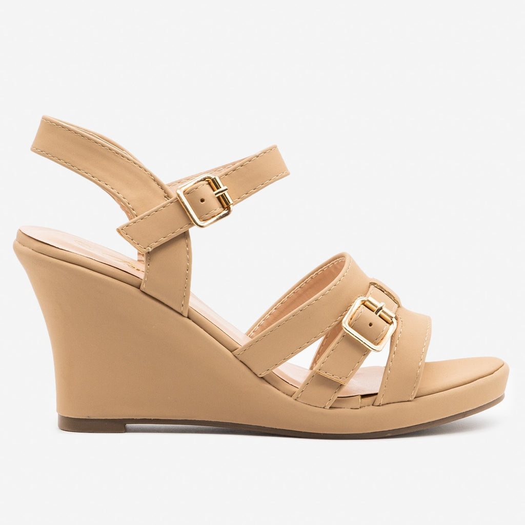 Women's Strappy Buckle Wedge - Forever - Taupe / 5