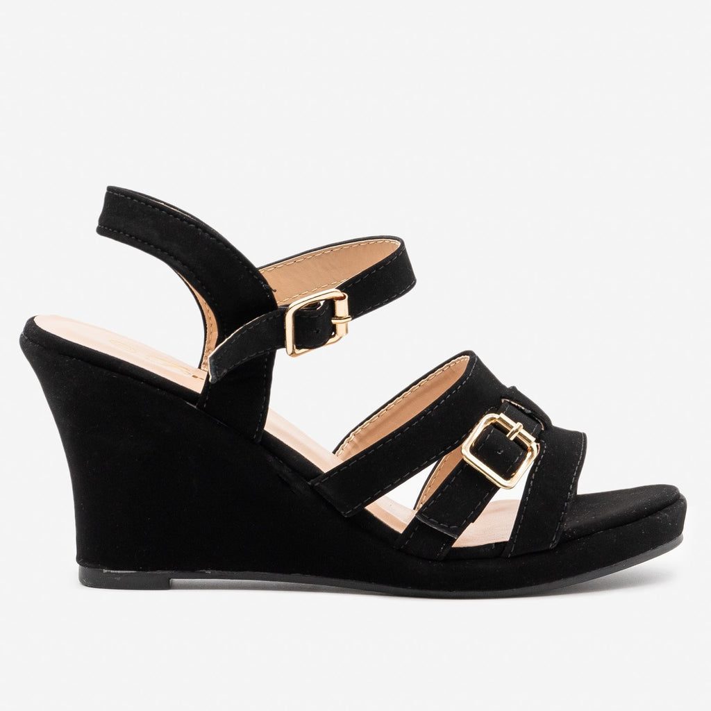 Women's Strappy Buckle Wedge - Forever - Black / 5