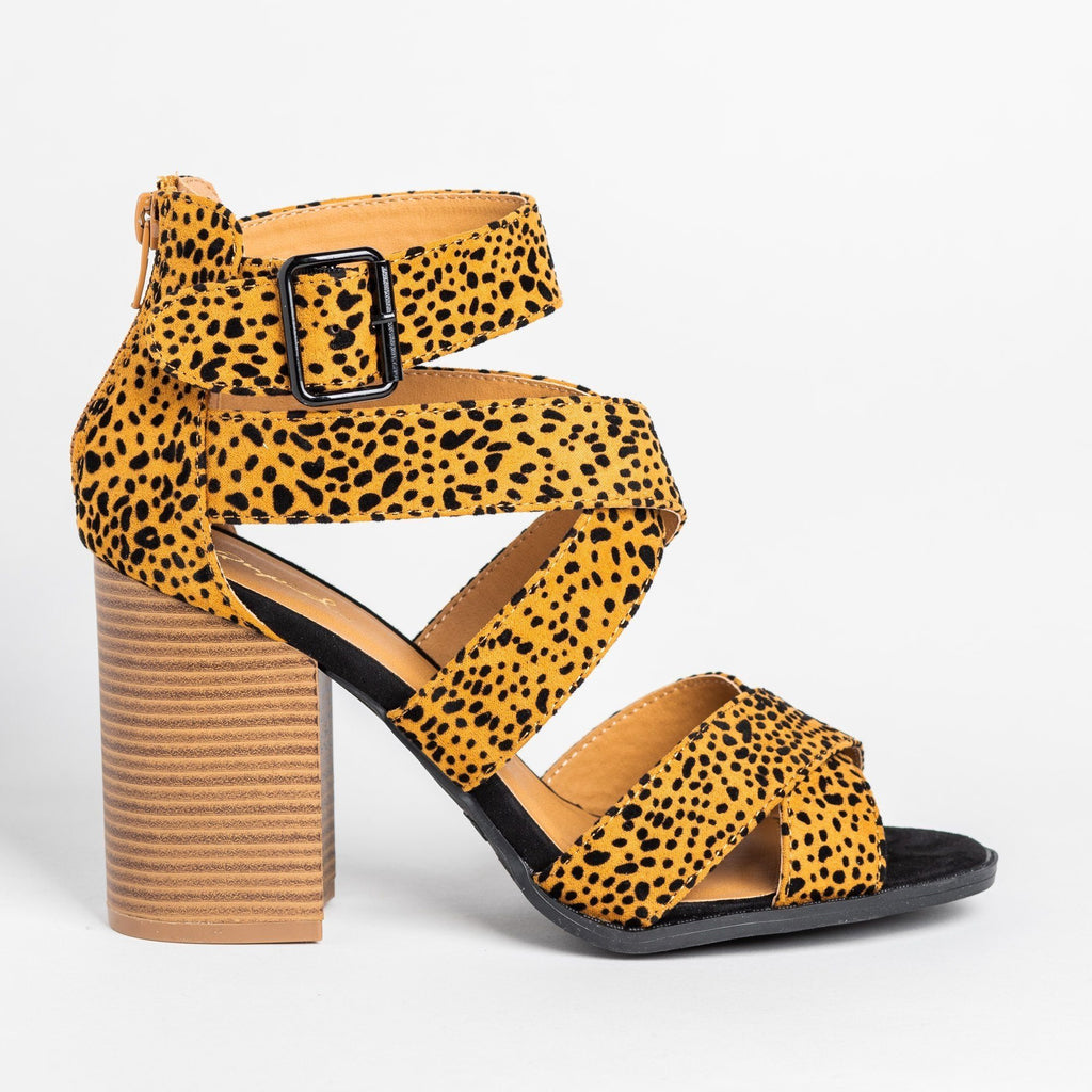 Womens Strappy Buckled Fashion High-Heels - Qupid Shoes - Leopard / 5