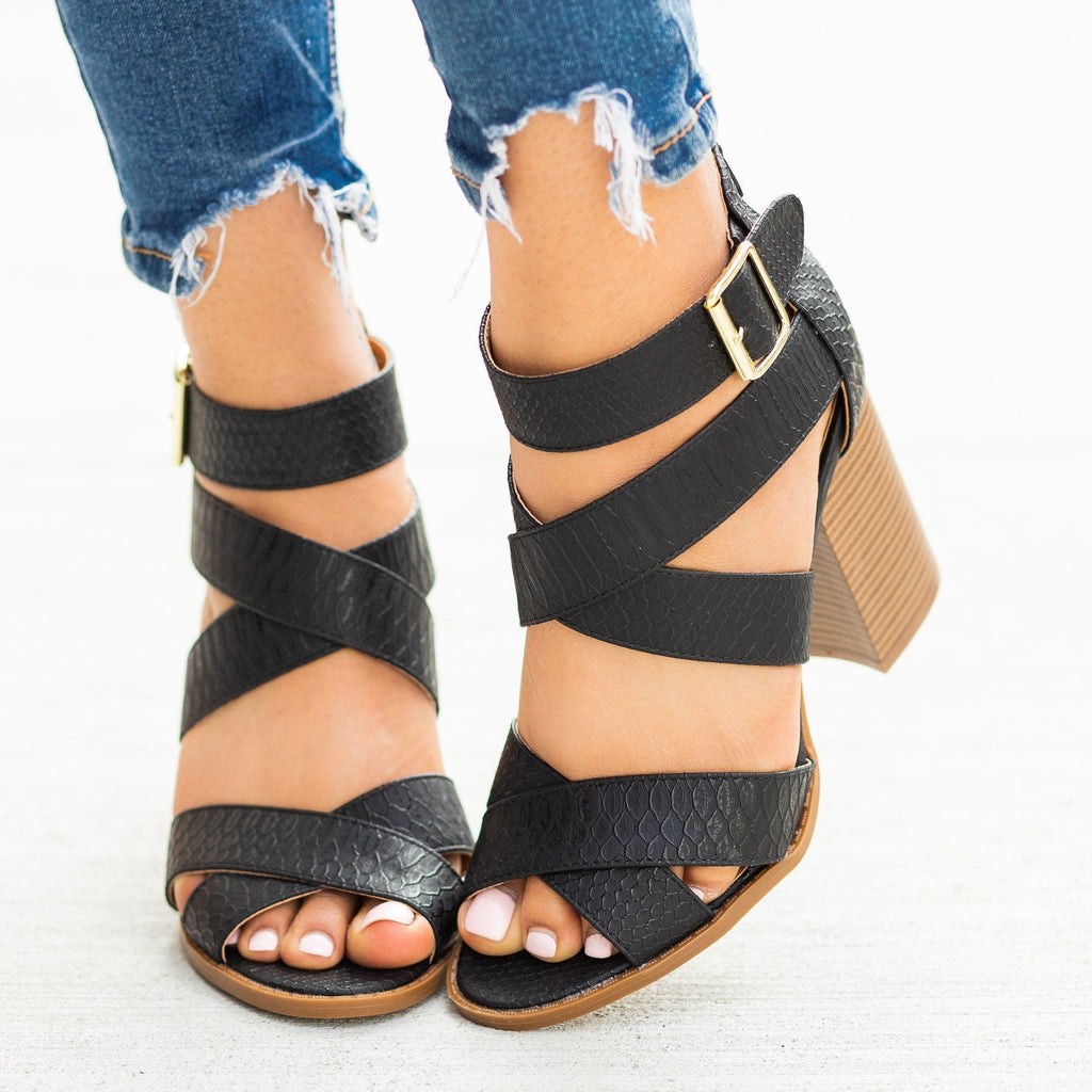 Womens Strappy Buckled Fashion High-Heels - Qupid Shoes - Black / 5
