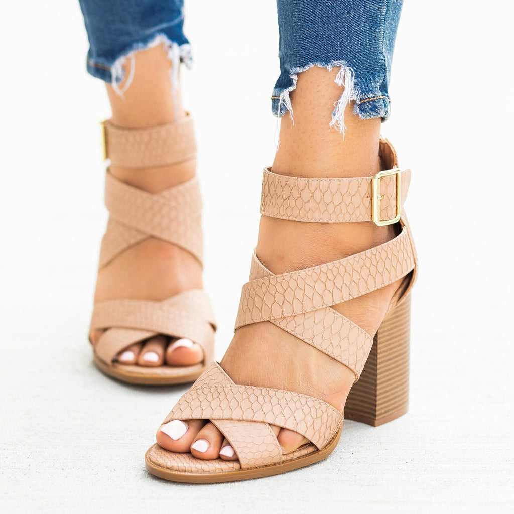 Womens Strappy Buckled Fashion High-Heels - Qupid Shoes
