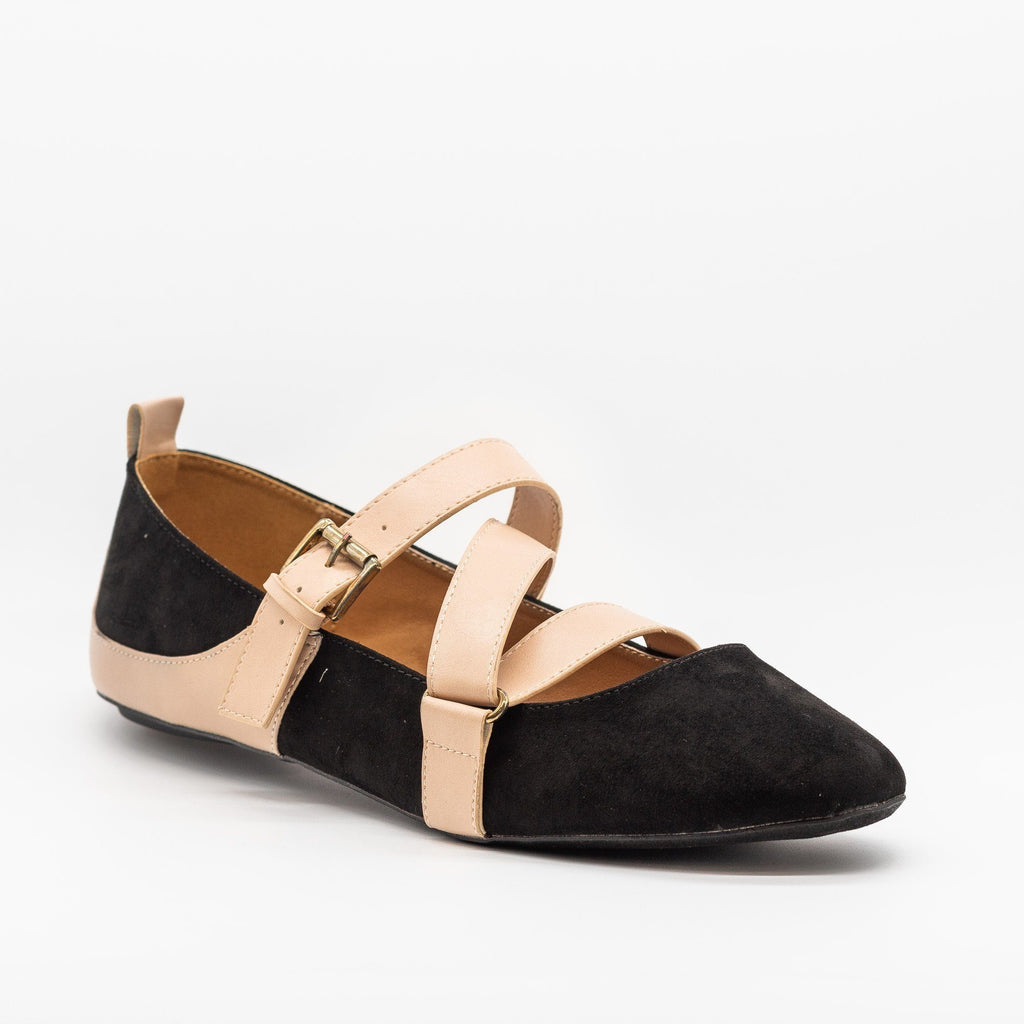 Womens Strappy Buckled Flats - Qupid Shoes - Black / 5