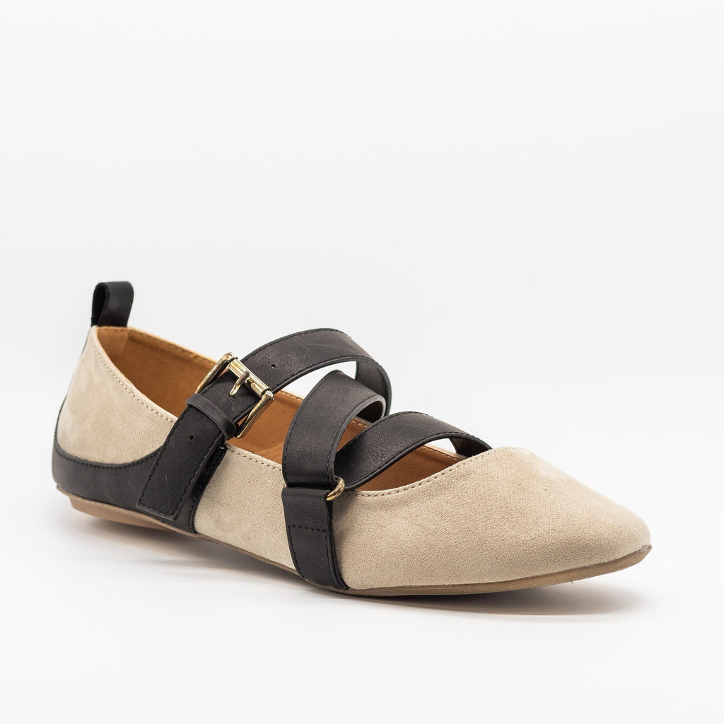 Womens Strappy Buckled Flats - Qupid Shoes - Oatmeal / 5