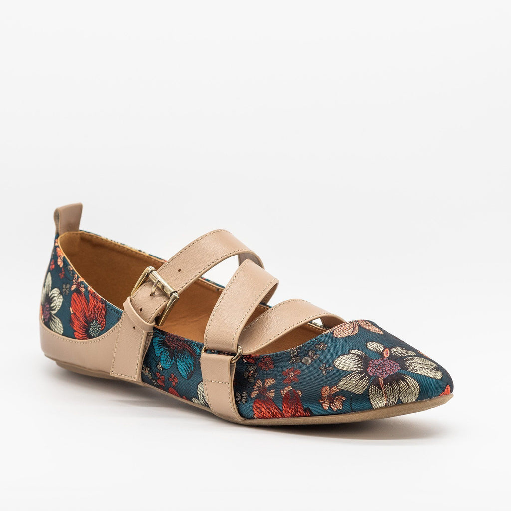 Womens Strappy Buckled Flats - Qupid Shoes - Blue Flower / 5