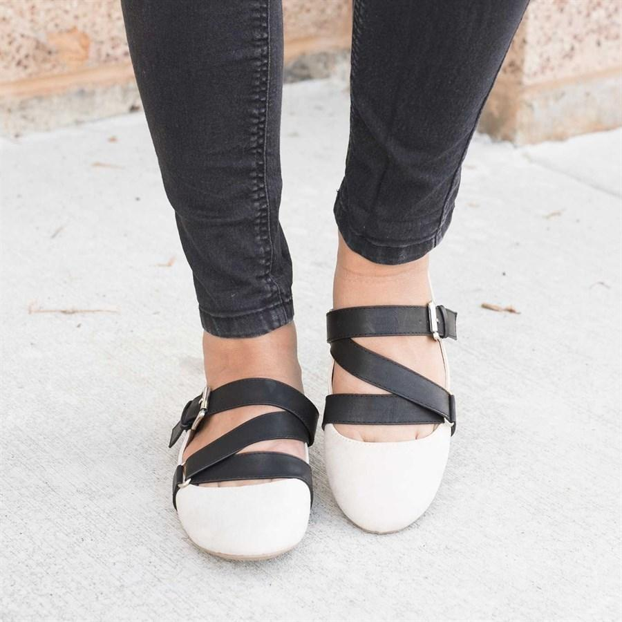 Womens Strappy Buckled Flats - Qupid Shoes