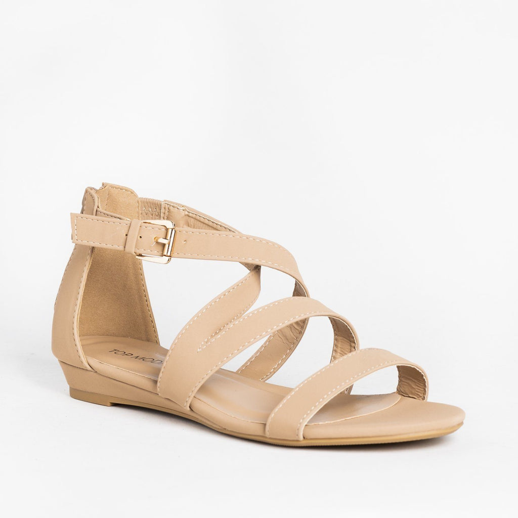 Womens Strappy Buckled Sandal Wedges - Top Moda - Tan / 5