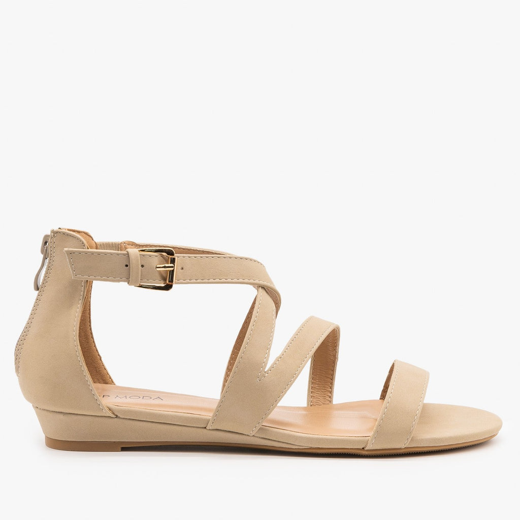 Womens Strappy Buckled Sandals - Top Moda - Beige / 5