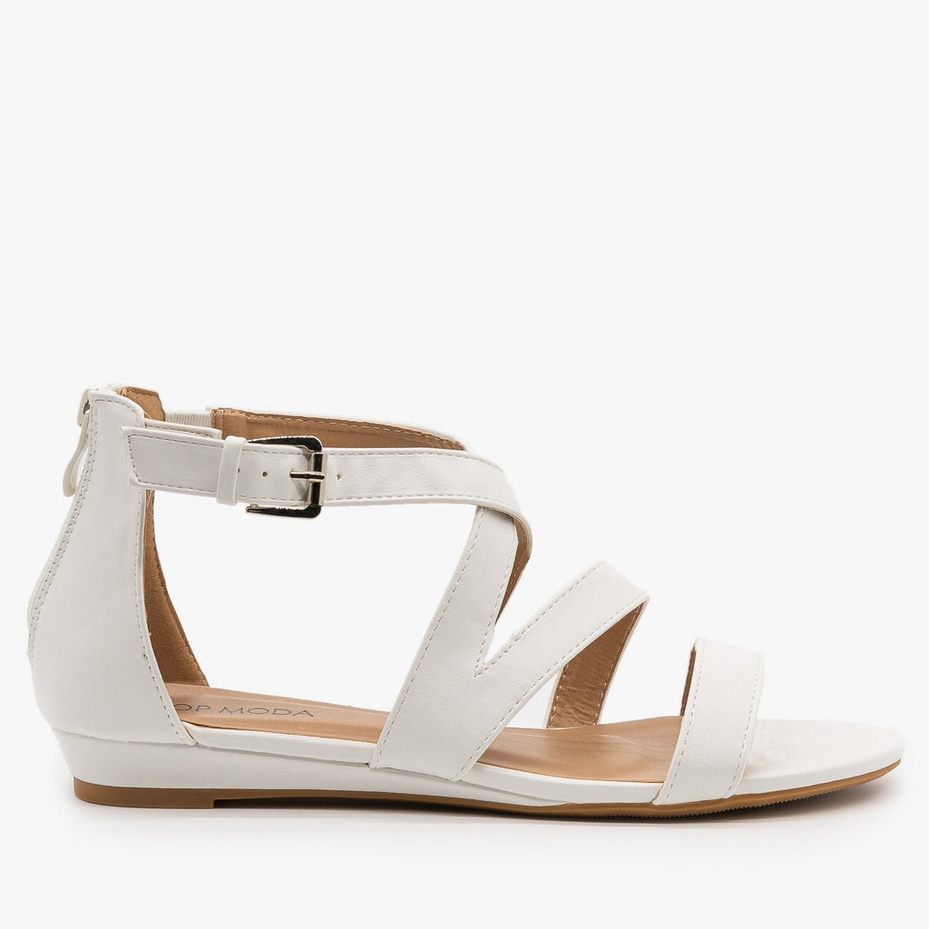 Womens Strappy Buckled Sandals - Top Moda - White / 5