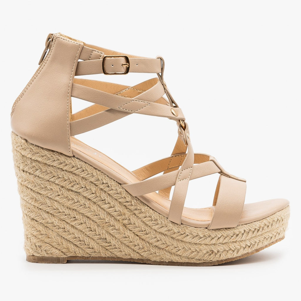 Womens Strappy Caged Espadrille Wedges - Refresh - Nude / 5