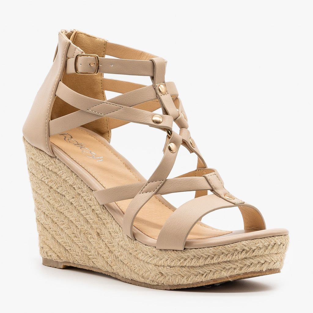 Womens Strappy Caged Espadrille Wedges - Refresh