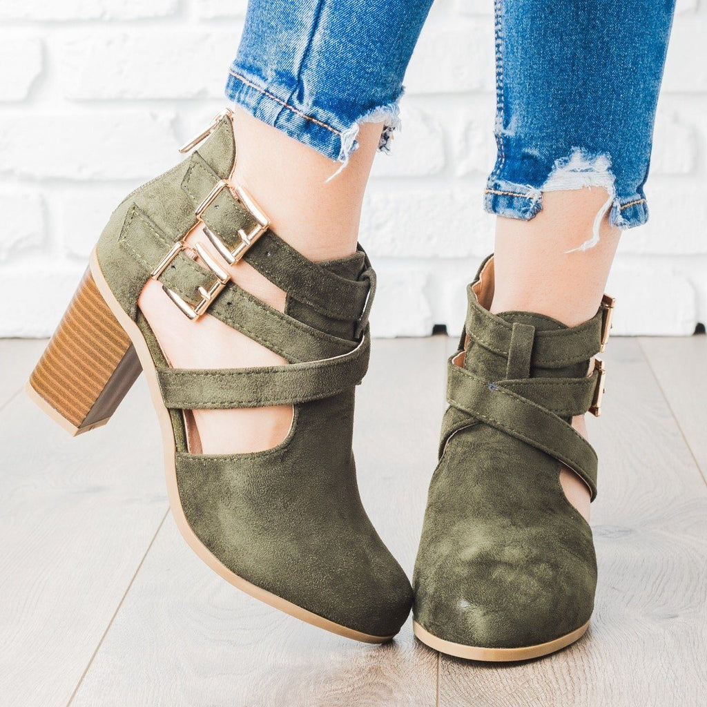 Womens Strappy Chic Buckle Booties - Bella Marie - Olive / 5
