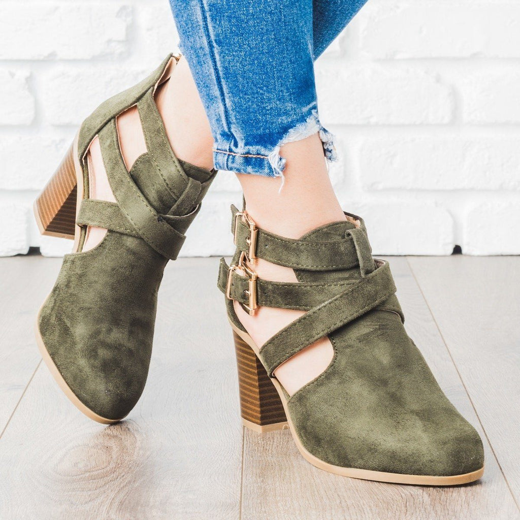 Womens Strappy Chic Buckle Booties - Bella Marie