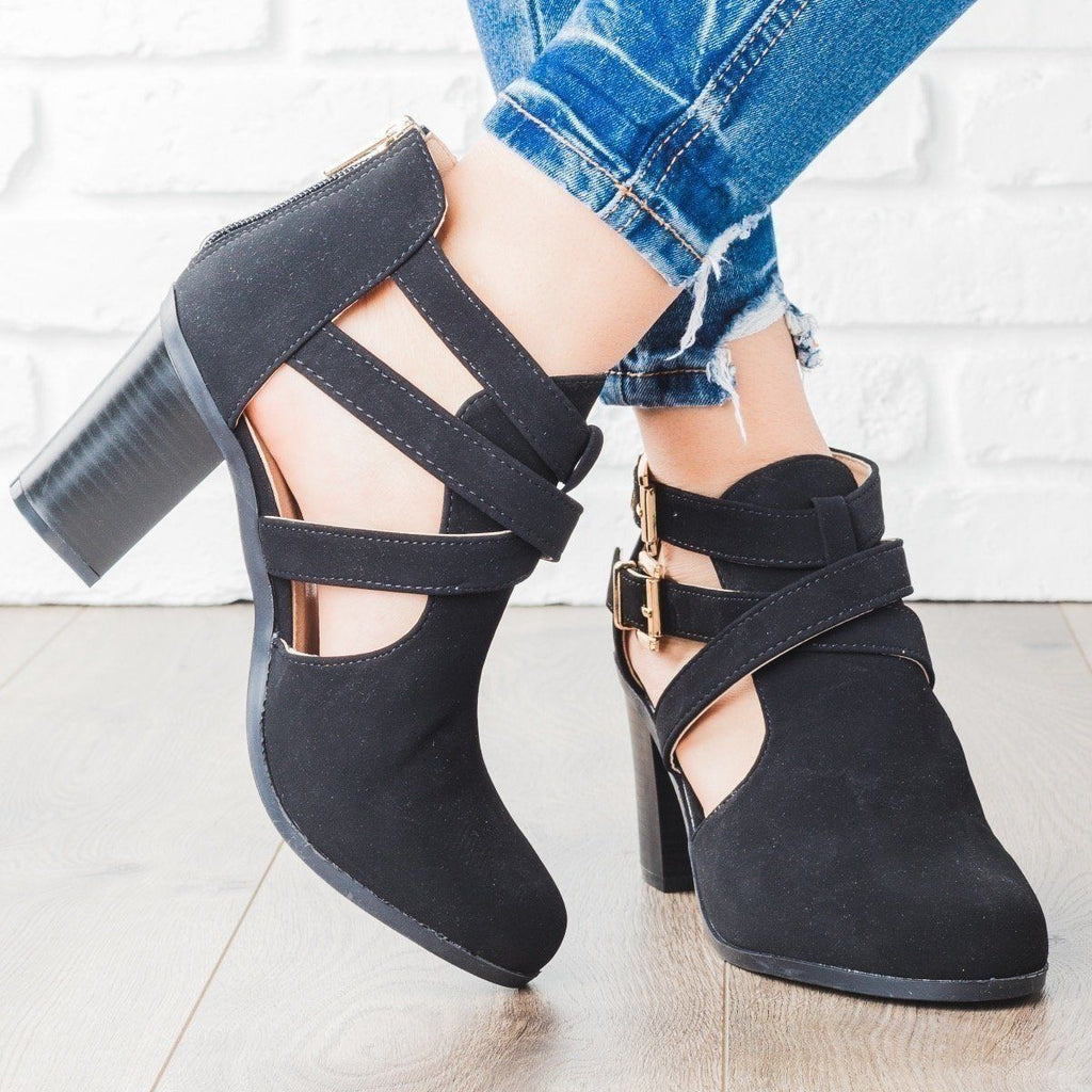Womens Strappy Chic Faux Leather Buckle Booties - Bella Marie