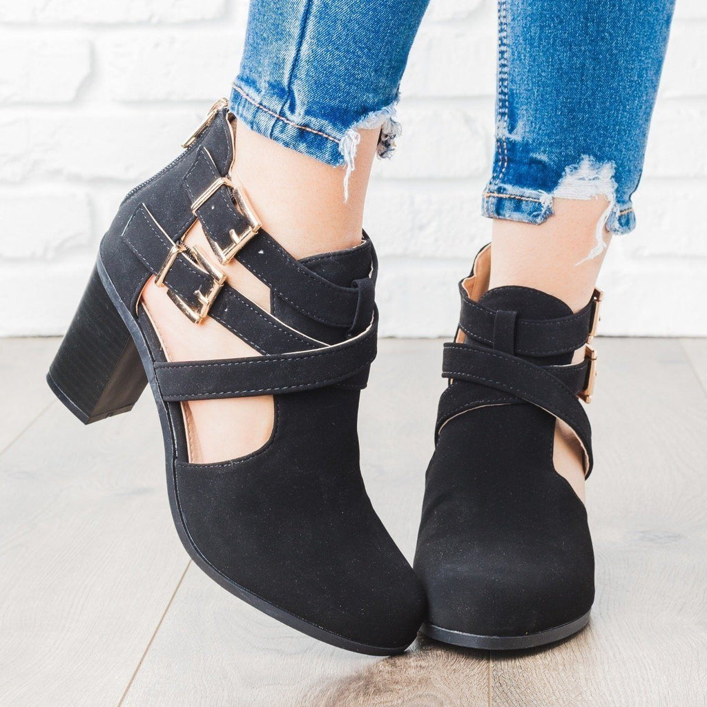 Womens Strappy Chic Faux Leather Buckle Booties - Bella Marie - Black / 5
