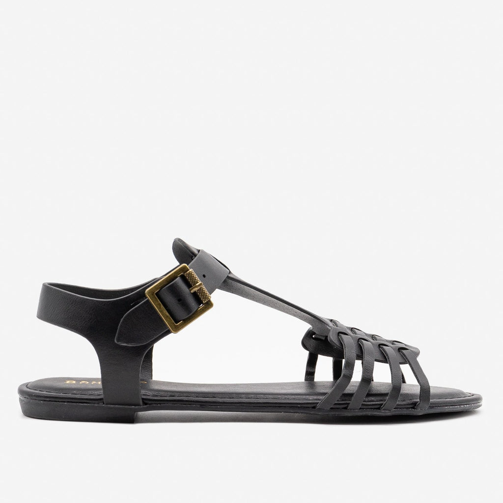 Women's Strappy Chic Summer Sandals - Bamboo Shoes - Black / 5