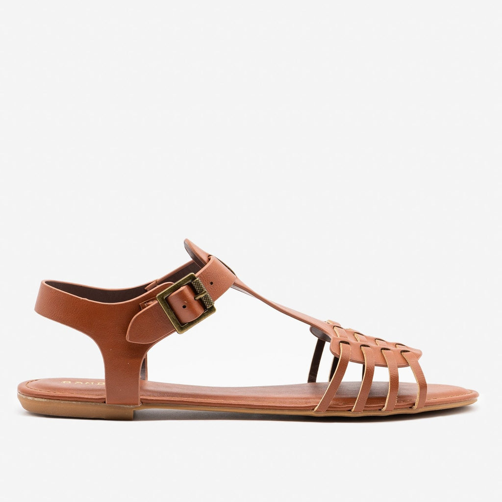 Women's Strappy Chic Summer Sandals - Bamboo Shoes - Brown / 5