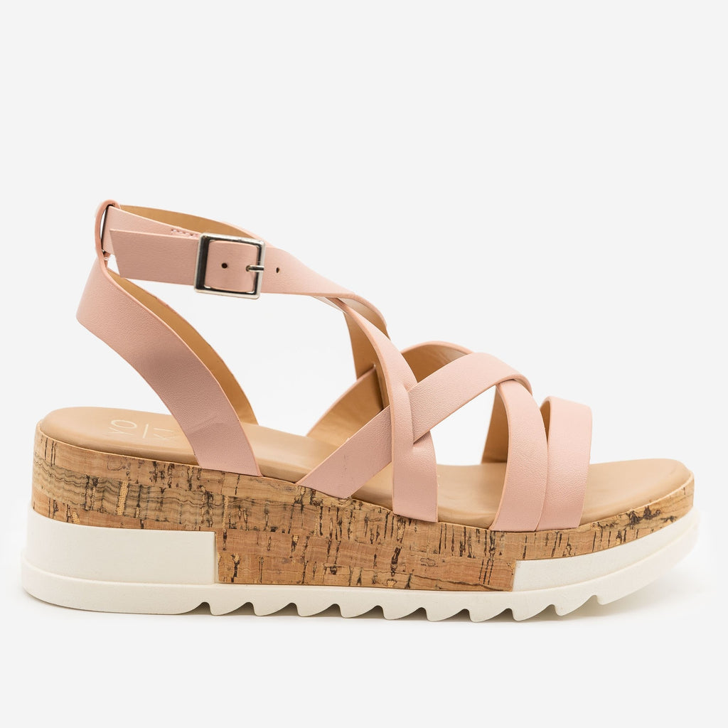 Women's Strappy Cork Wedge Sandals - Yoki - Blush / 5