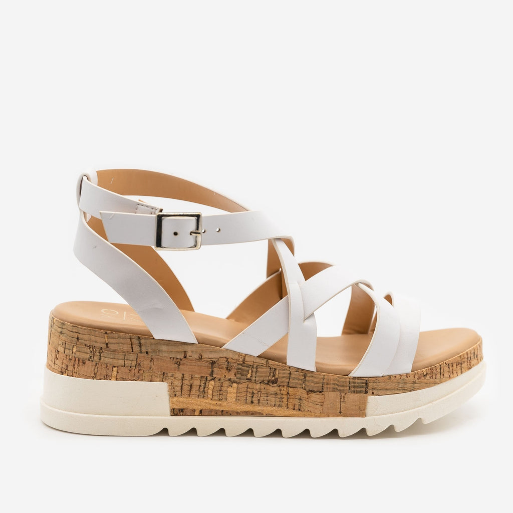 Women's Strappy Cork Wedge Sandals - Yoki - White / 5