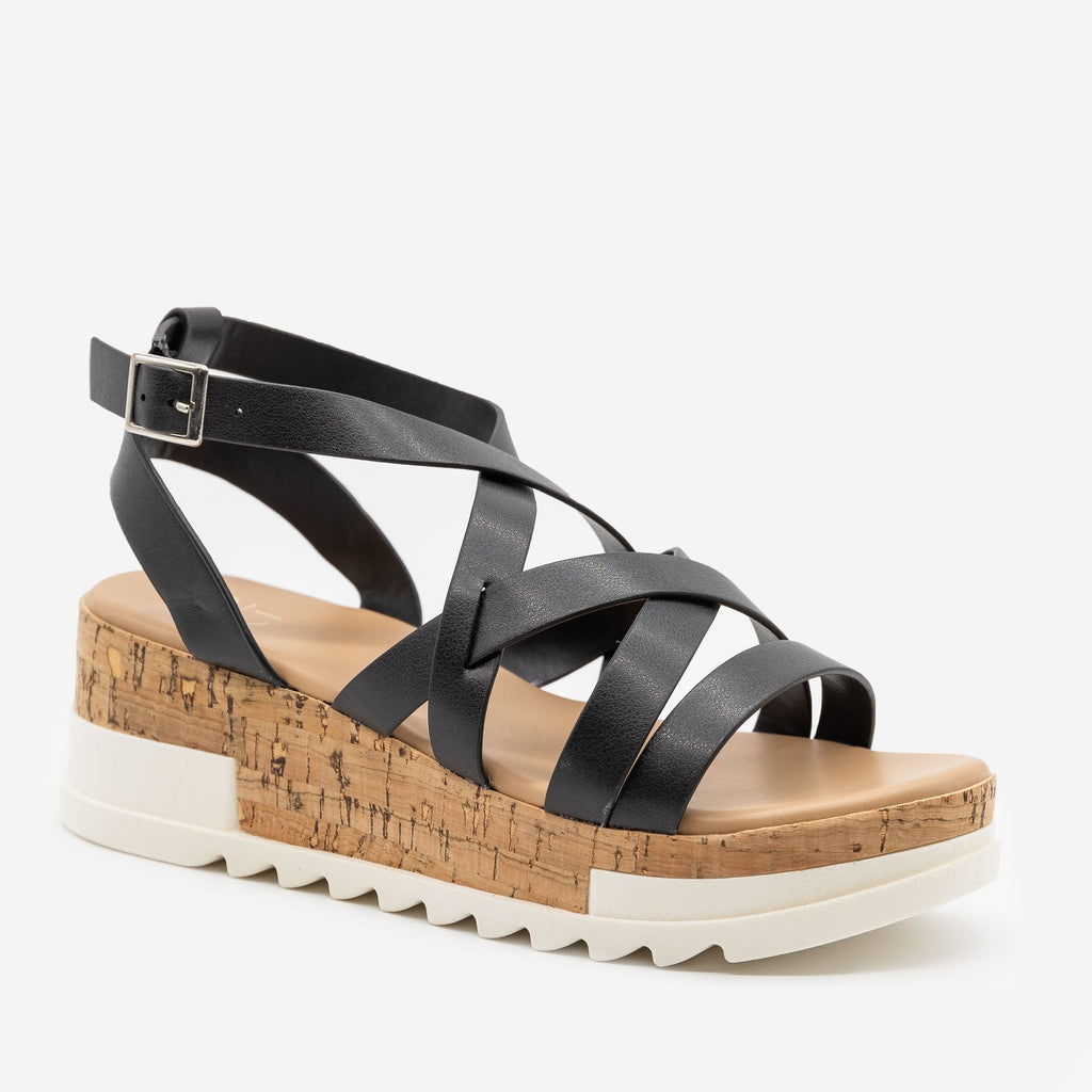 Women's Strappy Cork Wedge Sandals - Yoki