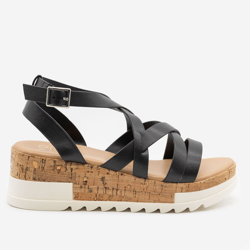 Women's Strappy Cork Wedge Sandals - Yoki - Black / 5