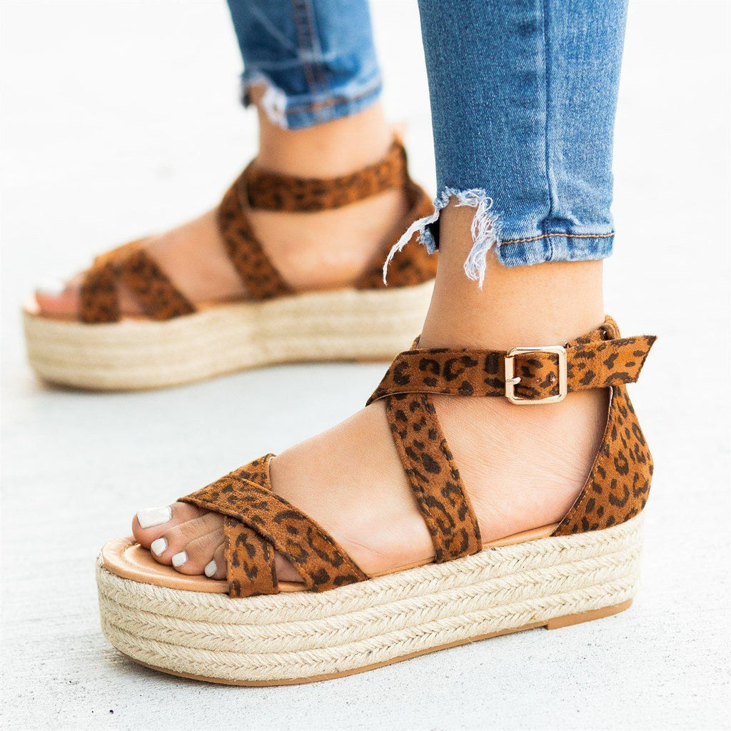 Womens Strappy Criss Cross Espadrille Flatforms - AMS Shoes