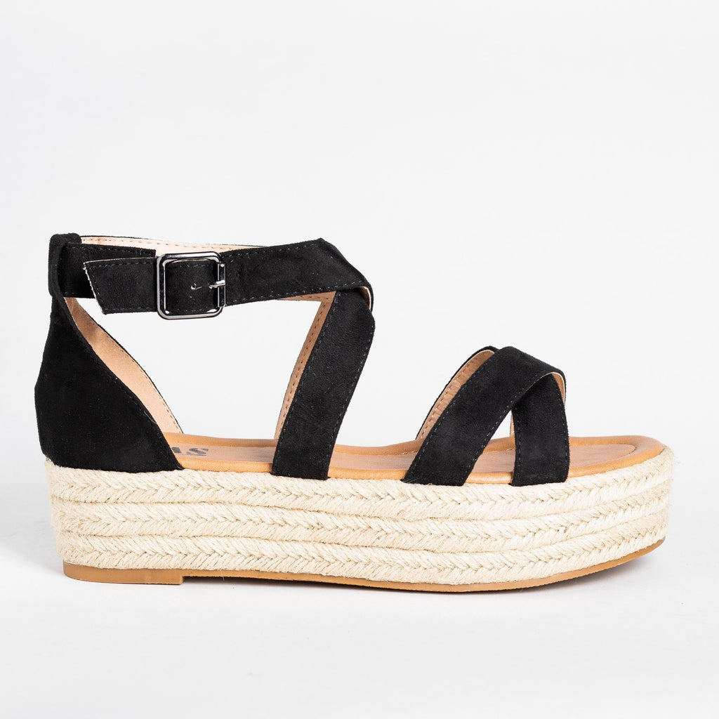 Womens Strappy Criss Cross Espadrille Flatforms - AMS Shoes - Black / 5