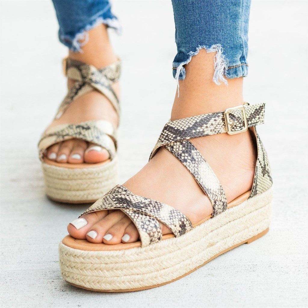 Womens Strappy Criss Cross Espadrille Flatforms - AMS Shoes - Snake / 5
