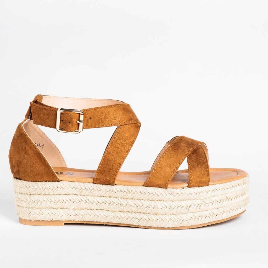 Womens Strappy Criss Cross Espadrille Flatforms - AMS Shoes - Tan / 5
