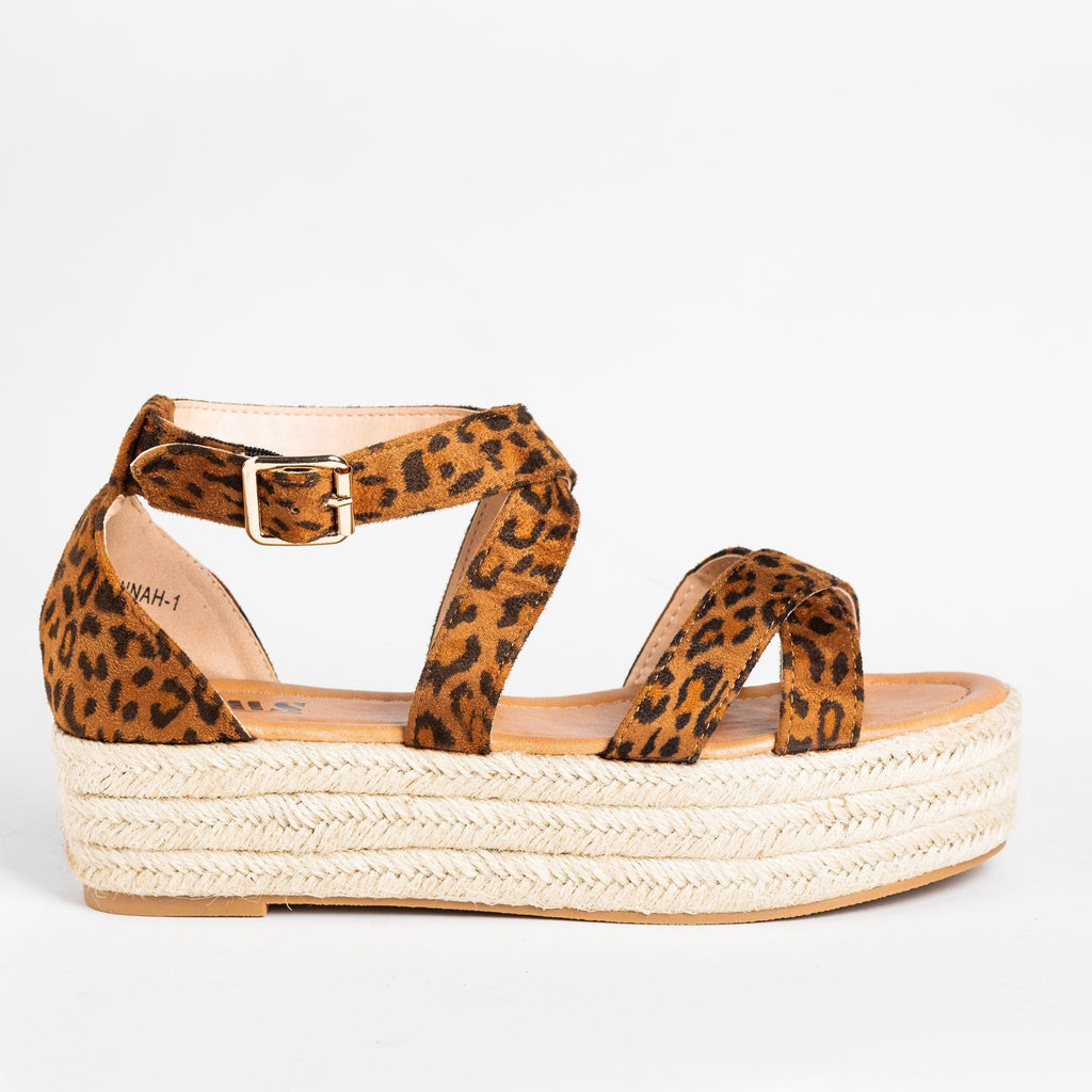 Womens Strappy Criss Cross Espadrille Flatforms - AMS Shoes - Leopard / 5