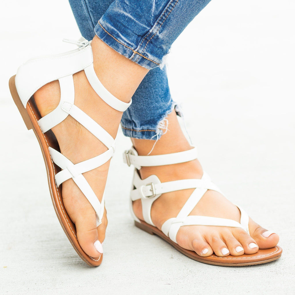 Womens Strappy Criss Cross Gladiator-Style Sandals - Soda Shoes - White / 5