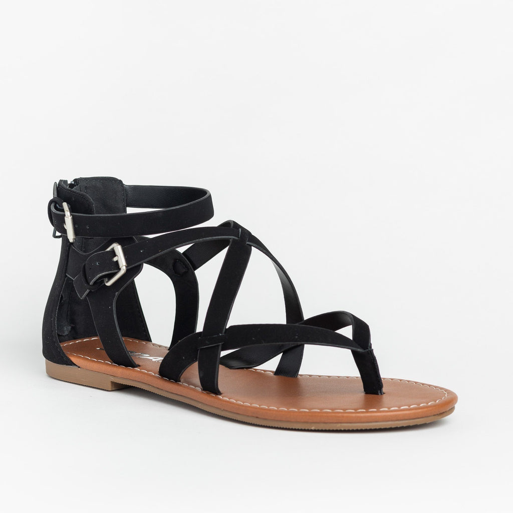 Womens Strappy Criss Cross Gladiator-Style Sandals - Soda Shoes - Black / 5