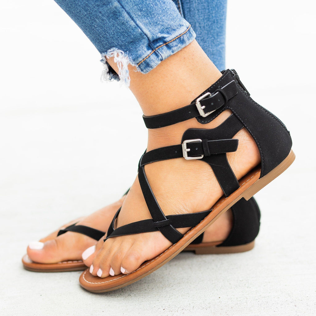 Womens Strappy Criss Cross Gladiator-Style Sandals - Soda Shoes