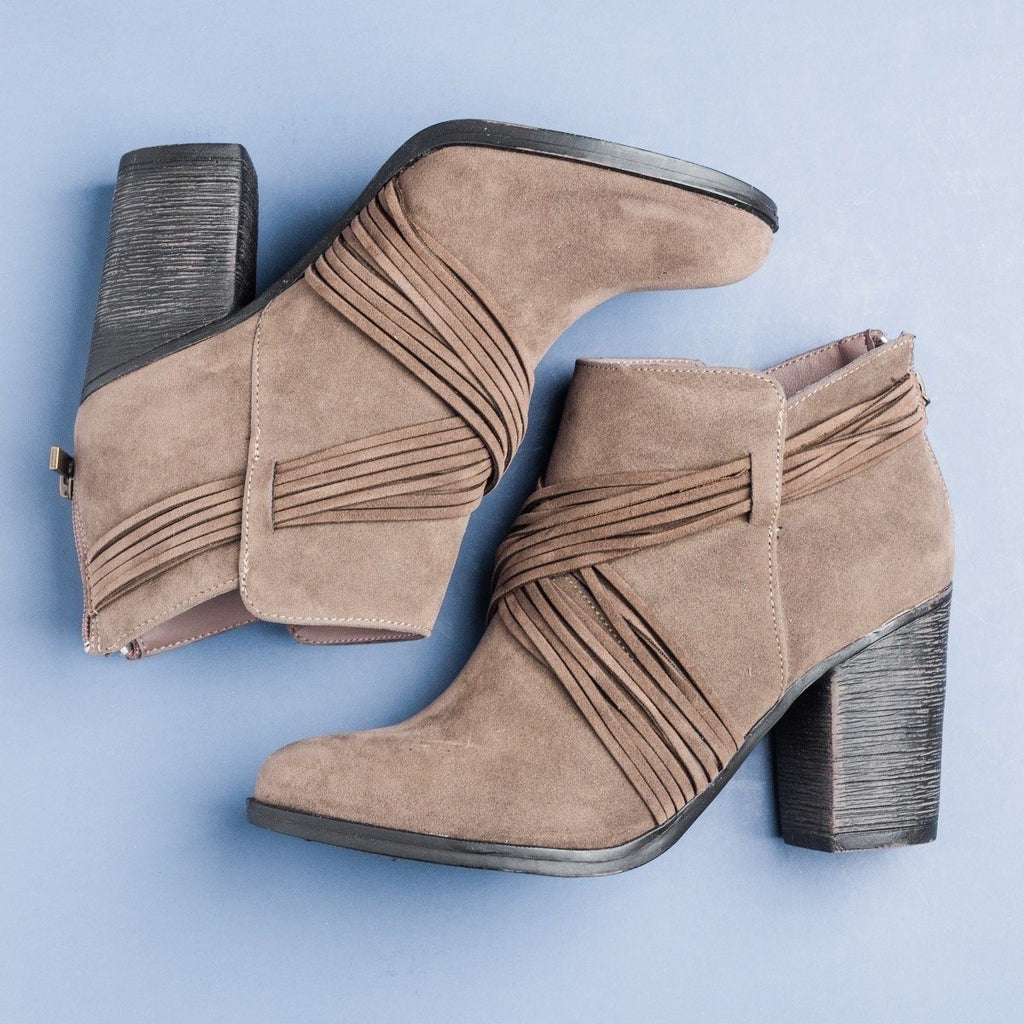 Womens Strappy Criss Cross Heel Booties - Bamboo Shoes - Taupe / 5