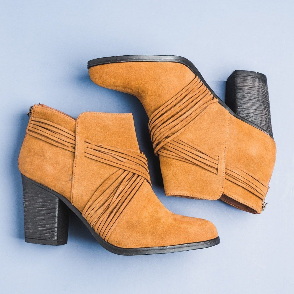 Womens Strappy Criss Cross Heel Booties - Bamboo Shoes - Chestnut / 5