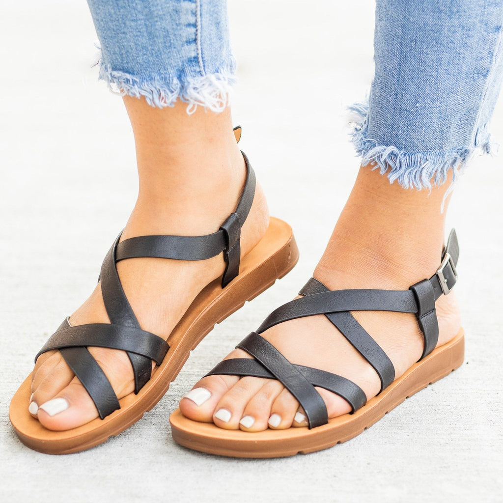 Womens Strappy Criss Cross Sandals - Forever - Black / 5