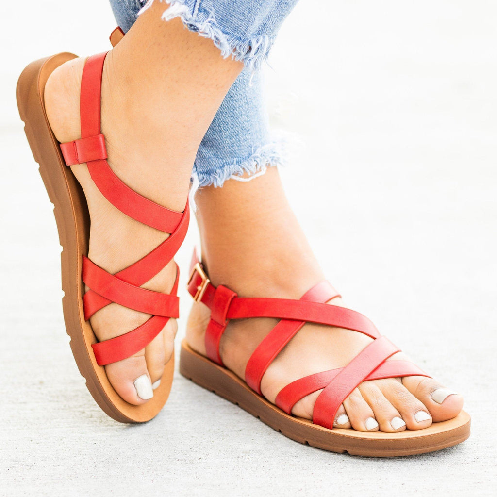 Womens Strappy Criss Cross Sandals - Forever - Red / 5