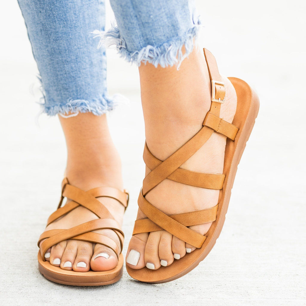 Womens Strappy Criss Cross Sandals - Forever - Tan / 5
